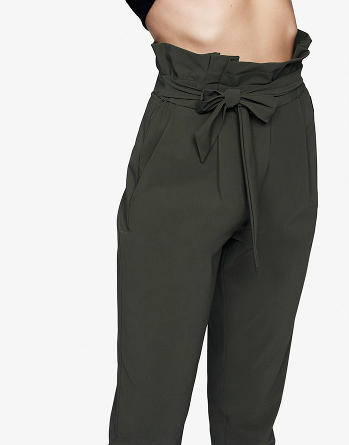 PAPERBAG PANT IN OLIVE GREEN