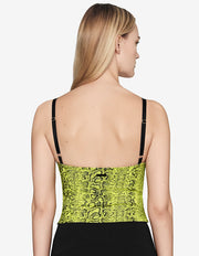 CORSET TOP IN YELLOW SNAKE