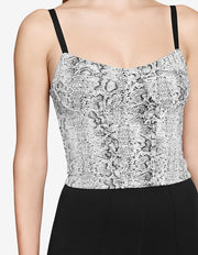 CORSET TOP IN WHITE SNAKE