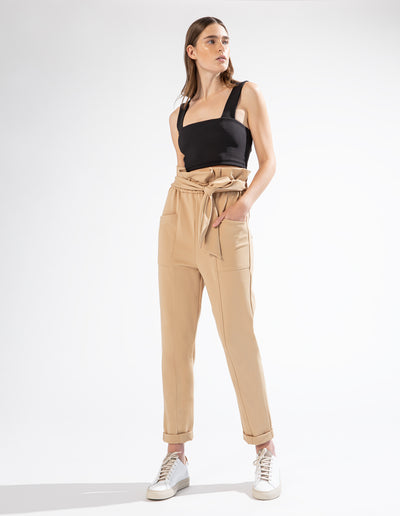 ABBOT KINNEY PAPERBAG PANT IN SAND