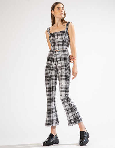 WHITE PLAID KICK FLARE PANTS