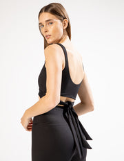 TIE BACK RIB TANK IN BLACK