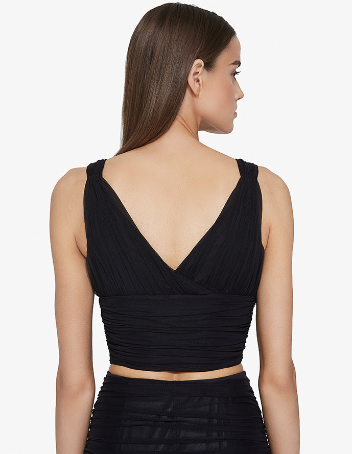 MESH SHIRRED CROP TOP