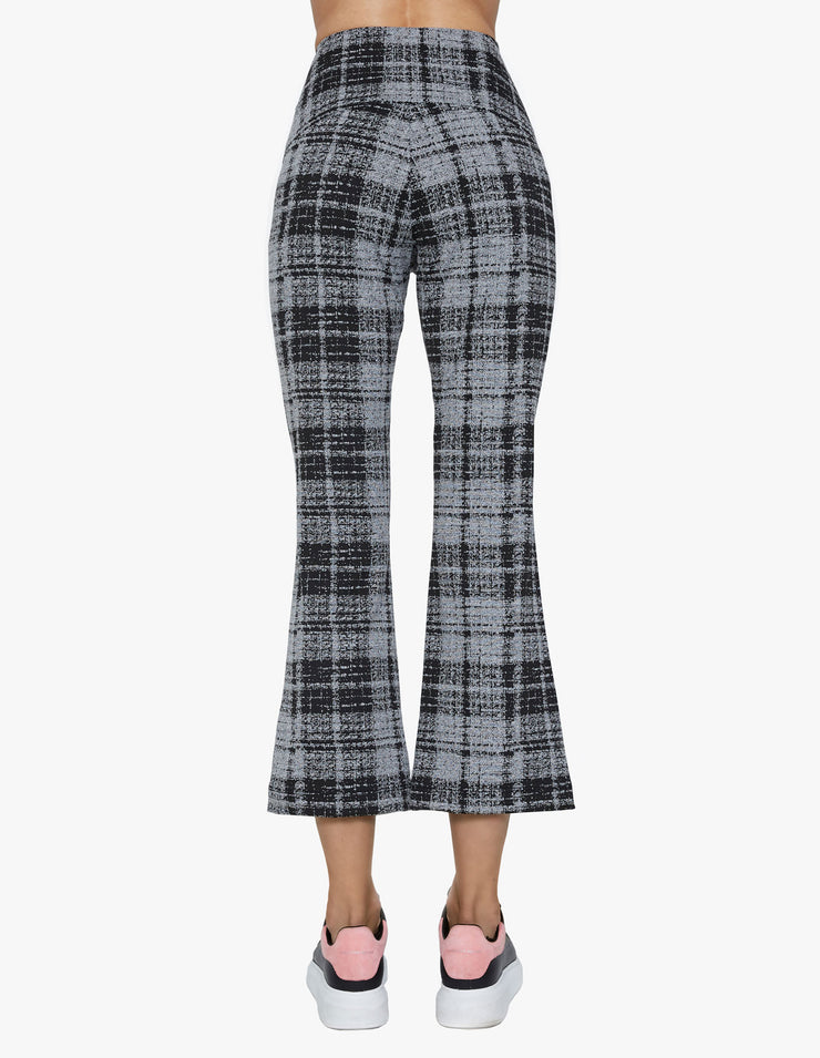 GREY PLAID KICK FLARE PANTS