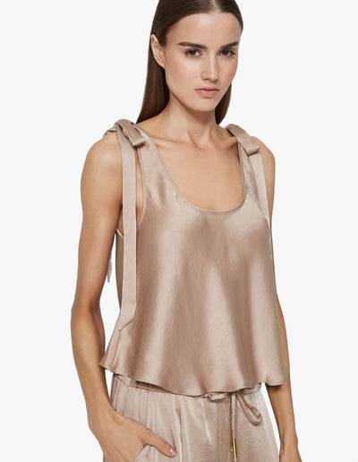 SATIN TIE TOP IN SAND