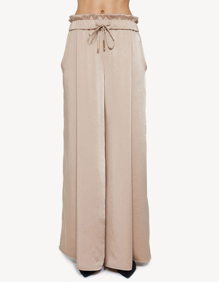 SATIN WIDE LEG PANT IN SAND