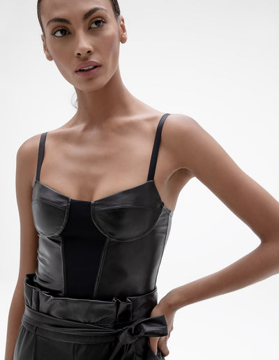 VEGAN LEATHER CORSET TOP