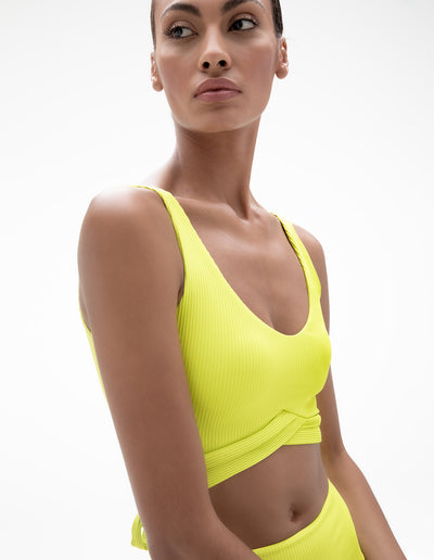 TIE BACK RIB TANK IN LIME