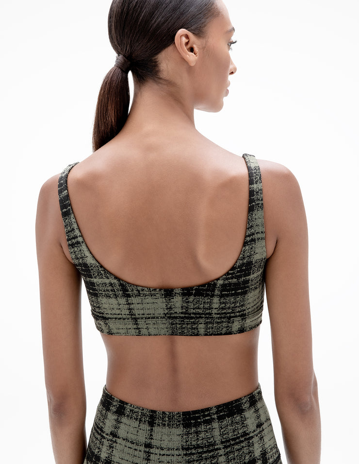 PLAID SPORTS BRA IN OLIVE GREEN