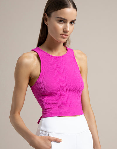Sleeveless back tie top in pink