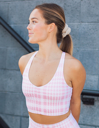 HOUNDSTOOTH V-NECK BRA IN PINK