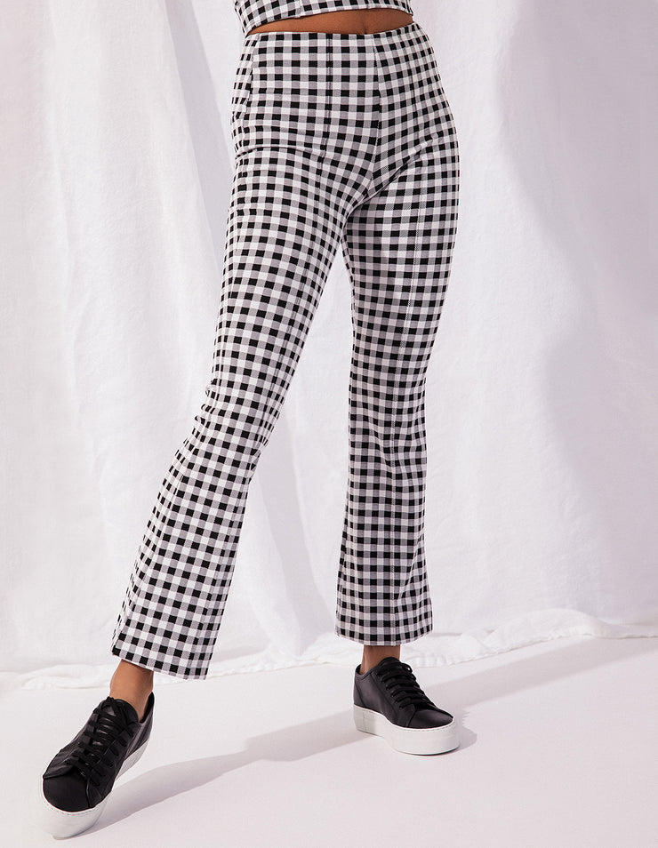KICK FLARE PANTS IN GINGHAM