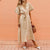 Gift Day V-Neck Belt Cotton And Linen Comfort Midi Dress