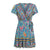Gift Day Simple V Collar Floral Printed Beach Vacation Mini Dress