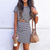 Gift Day Fashion Short Sleeves Striped Suit Mini Dress