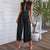 Gift Day Sexy Lace Lapel Backless Sleeveless Hollow-Out Jumpsuit