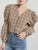 Vintage plaid shirt women blouse