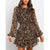 Fashion Printed Lace-Up Long Sleeve Dress