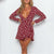 Gift Day Sexy V-Neck Print Long Sleeve Strap Mini Dress