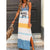 Gift Day V-Neck Sleeveless Printed Split Casual Dress