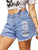 Gift Day Broken Hole Raw Shorts Fashion Mid-Rise Loose Short Pants