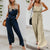 Gift Day Spaghetti Strap Backless Belt Plain Sleeveless Jumpsuits