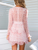 Gift Day V-Neck Print Stitching Long Sleeve Mini Dress