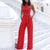 Gift Day Elegant Pure Colour Off-Shoulder Metal Zipper Jumpsuit