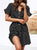 Gift Day Fashion Polka Dot V Neck Belted Chiffon Mini Dresses