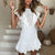 Gift Day Sexy Lace Openwork Embroidered Lace Stitching Sleeveless Ruffled Mini Dress