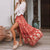 Gift Day Boho Printed Colour Waist-Tight Long Skirt