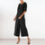 Gift Day V-Neck Bat Sleeve Loose Solid Color Jumpsuit