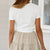 Gift Day Summer Short Sleeve Solid Color Tie Front Crop Top T-Shirt