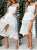 Gift Day Sling Stitching Open Back Bow Midi White Dress