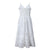 Gift Day Solid Color Sling Lace Midi White Dress
