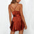 Gift Day Sexy Shoulder Straps Solid Color Silk And Satin Mini Sexy Dress