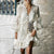 Gift Day V Neck Lace Hollow Out See-Through Bell Sleeve Dress