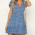 Gift Day Summer Small Floral Holiday Buckle Stitching Mini Dress