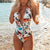 Gift Day Sexy Deep V-Neck Printed Strappy Bikini Beach Piece Swimsuit