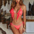 Gift Day Fashion Bikini Fringe Decorated Fluorescence Color Split Bathing Suit