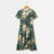 Gift Day Floral Print Tie Waist V Neck Vacation Dress