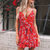 Gift Day Fashion Printed Strap V-Neck Sling Floral Mini Dress