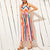 Gift Day Fashion Casual Sling Color Strip Long Jumpsuit