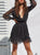 Gift Day Fashion Mesh Splicing Wave Point   Mini Dress