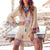 Gift Day Bohemian Tassel Bell Sleeve V Neck Splicing Mini Dress