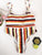 Gift Day New Striped Bikini High Waist Split Swimsuit