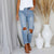 Gift Day Shredded Low Waist Casual Denim Straight Pants