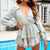 Solid Color V-Neck Long-Sleeved Ruffled Mini Dress