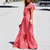 Gift Day Printed Spliced Ruffled Lace-Up Maxi Dress