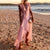 Gift Day V-Neck Lotus Leaf Loose Beach Midi Dress